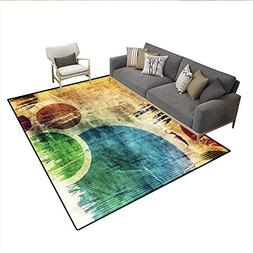 Floor Mat,Colorful Funky Circles Contemporary Style Spotted